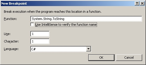 How to set breakpoints without source code in Visual Studio